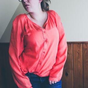 🍀Loft Sheer Blouse Tunic Button Up Peach